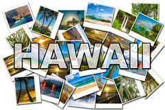 Hawaii pictures collage. Of different famous locations of the islands of Maui, the Big Island and Kawaii Hawaii, United States stock photography