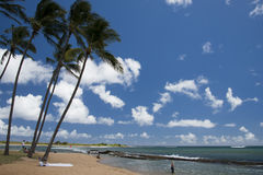 Hawaii Poipu beach landscape. Panorama on sunny day Royalty Free Stock Photo