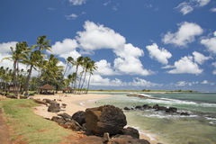 Hawaii Poipu beach landscape. Panorama on sunny day Stock Image