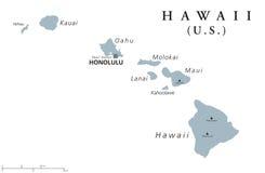 Hawaii political map Stock Photo