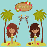 Hawaii  poster with Hula dancers and palm trees Stock Photos