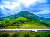 Hawaii Rifle Range. Hawaii Kai, , Oahu, Hawaii, USA - September 24, 2015: The majestic Koko Head Crater stands as the backdrop for the main firing line at the royalty free stock images
