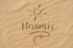 Hawaii in the Sand. A picture of the sun and the word Hawaii drawn in the sand Royalty Free Stock Photography