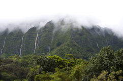 Hawaii Scenery: Rainy Season Mountain Waterfalls Royalty Free Stock Photography