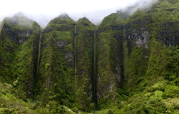 Hawaii Scenery: Rainy Season Mountain Waterfalls Royalty Free Stock Photos