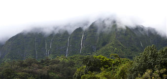 Hawaii Scenery: Rainy Season Mountain Waterfalls Royalty Free Stock Image