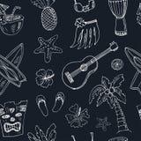 Hawaii seamless pattern, including Hula skirt, tiki gods, totem pole, drums, guitar, palm Royalty Free Stock Photo