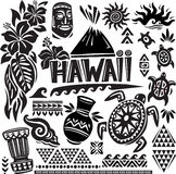 Hawaii Set. In black and white royalty free illustration