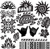 Hawaii Set. In black and white stock illustration