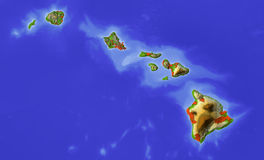 Hawaii, shaded relief map Royalty Free Stock Photos