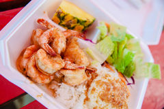 Hawaii shrimp scampi and rice Royalty Free Stock Photography