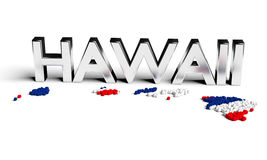 Hawaii silver text with map and flag. The map formed by 3D particles Royalty Free Stock Photos
