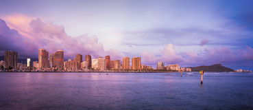 Hawaii skyline at sunset Royalty Free Stock Image