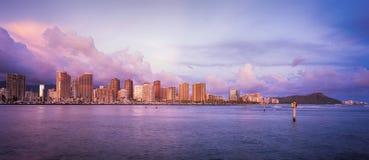 Hawaii skyline at sunset royalty free stock image