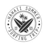 Hawaii sommar som surfar tur efter logomallen 1969, svartvit vektorillustration vektor illustrationer
