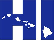 Hawaii state abbreviations HI with map Royalty Free Stock Photos