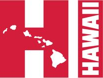 Hawaii with state abbreviations HI and map. Vector Stock Photos