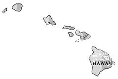 Hawaii State and Date Map Grunged Royalty Free Stock Photos