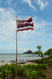 Hawaii State Flag. With Blue Sky Background royalty free stock photo