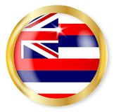 Hawaii Flag Button. Hawaii state flag button with a gold metal circular border over a white background Royalty Free Stock Images