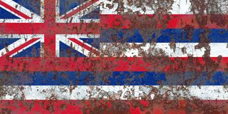 Hawaii state grunge flag, United States of America.  royalty free stock image
