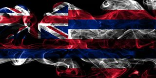 Hawaii state smoke flag, United States Of America royalty free stock photo