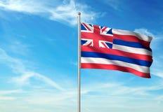 Hawaii state of United States flag waving blue sky background realistic 3d illustration stock illustration