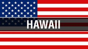 Hawaii state on a USA flag background, 3D rendering. United States of America flag waving in the wind. Proud American Flag Waving royalty free illustration