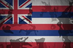 hawaii statflagga på den kaki- texturen gevär s för green m4a1 för flaggan för begreppet för closen för armoranfallhuvuddelen skö Fotografering för Bildbyråer