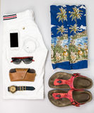 Hawaii style casual ./ Overhead of Men's casual outfits with acc. Essories Royalty Free Stock Image