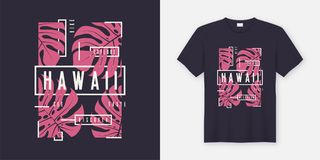 Hawaii stylish t-shirt and apparel modern design with tropical l. Eaves, typography, print, vector illustration. Global swatches royalty free illustration
