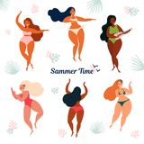 Hawaii summer time holiday. Girls in bikini vector illustration