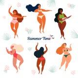 Hawaii summer time holiday. Girls in bikini vector illustration