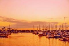Hawaii sunset beautiful colors at harbor Royalty Free Stock Image