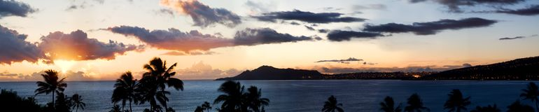 Hawaii Sunset Panorama stock photos