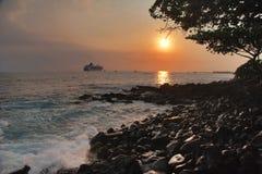 hawaii sunset powulkanicznego stone Obrazy Stock