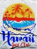 Hawaii Surf Illustration / t-shirt graphics / vectors/ typograph Royalty Free Stock Photos