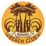 Hawaii surfer sign. Abstract Hawaii surfer club sign Stock Image