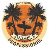 Hawaii surfer sign. Abstract Hawaii surfer sign, color illustration Stock Photos