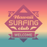 Hawaii Surfing club vintage label with waves. Surf Vector logo  Royalty Free Stock Photo