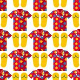 Hawaii t-shirt summer vector clothe and beach slippers hawaii style boots illustration seamless pattern. On white Royalty Free Stock Photos