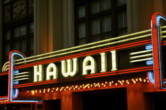 Hawaii Theatre Neon Marquis. Historic Hawaii Theatre Neon, Honolulu. Listed on the State and National Register of Historic Places Stock Photography