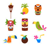 Hawaii Themed Set Of Icons Royalty Free Stock Photo