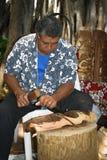 Hawaii - Tiki statue carver stock photo