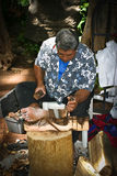 Hawaii - Tiki statue carver Stock Image
