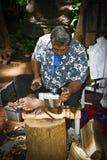 Hawaii - Tiki statue carver stock image