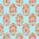 Hawaii tiki tribal mask seamless simple pattern. Abstract stylized totem silhouettes symbols red and blue background Vector Illustration