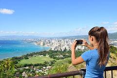 Hawaii tourist taking photo Honolulu Waikiki beach Royalty Free Stock Photo