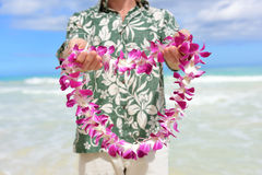 Hawaii tradition - giving a Hawaiian flowers lei. Portrait of a male person holding a garland of flowers as the Hawaiian culture welcoming gesture for tourists royalty free stock image