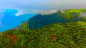Hawaii travel aerial background of Na Pali coast, Kauai, Hawaii helicopter view. Nature coastline landscape in Kauai island, Hawai. I, USA. Panoramic banner crop stock images
